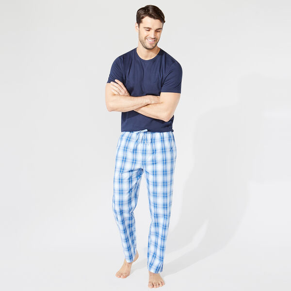 CLASSIC FIT SHORT SLEEVE PLAID PANT PAJAMA SET - Navy