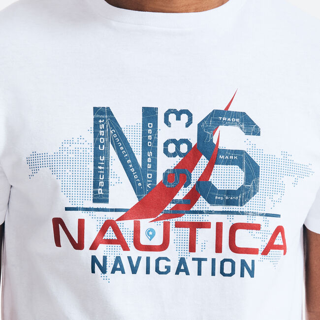 MAP NAVIGATION GRAPHIC T-SHIRT,Bright White,large