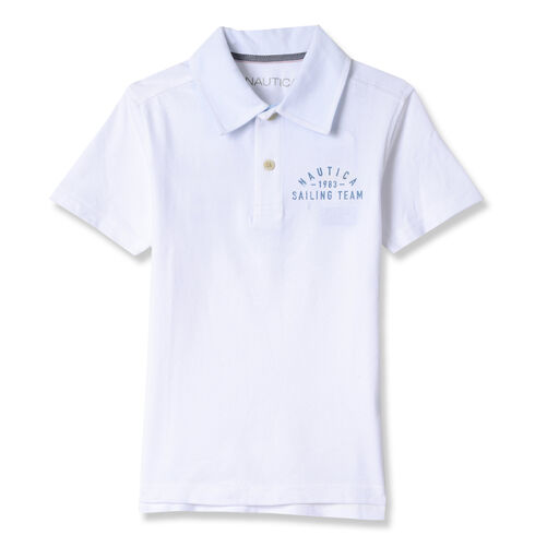 Toddler Boys' Skylar Short Sleeve Pique Polo (2T-4T) - White