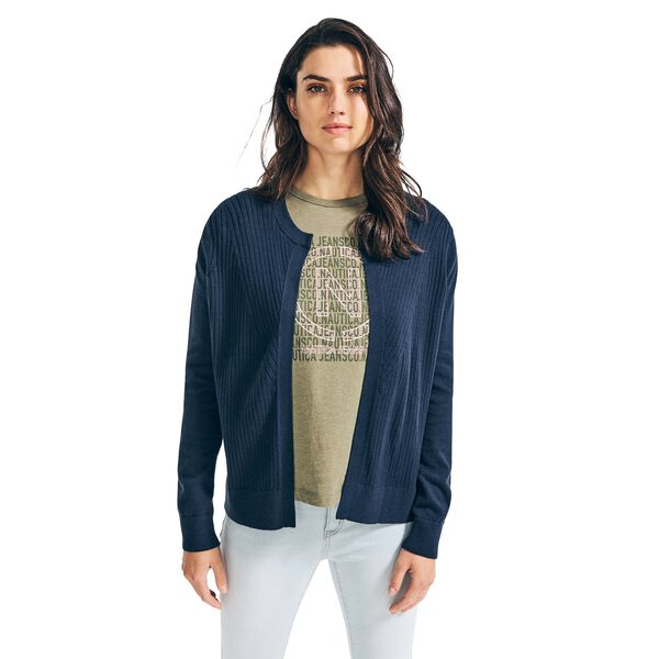RIB-KNIT OPEN FRONT CARDIGAN - Stellar Blue Heather