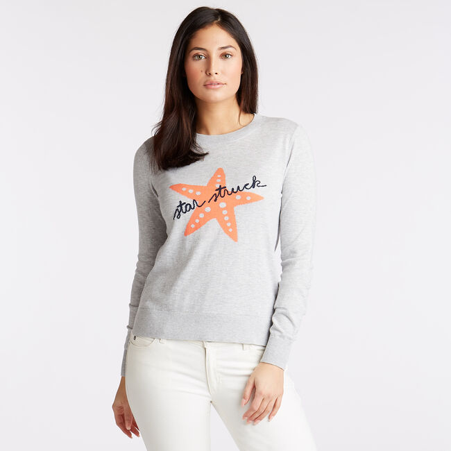 CLASSIC FIT COTTON & MODAL SWEATER IN INTARSIA GRAPHIC,Pale Blue,large