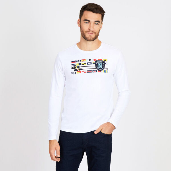Big & Tall Flags + Oars Crewneck Long Sleeve Tee - Bright White