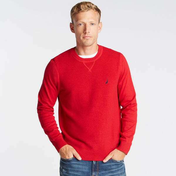 CREWNECK RIBBED FRONT SWEATER - Nautica Red