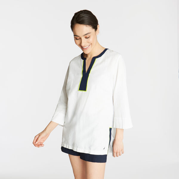 LINEN TUNIC TOP IN CONTRAST TRIM - Bright White