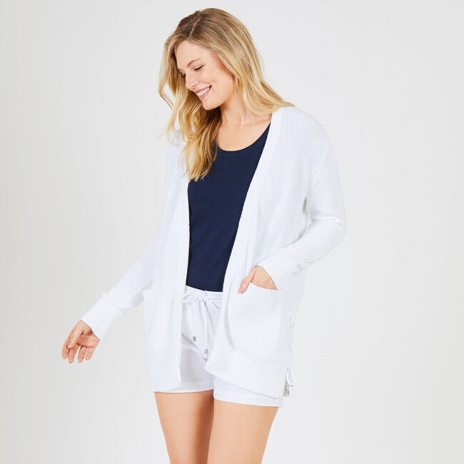 Long Sleeve Tie Detail Cardigan,Bright White,large