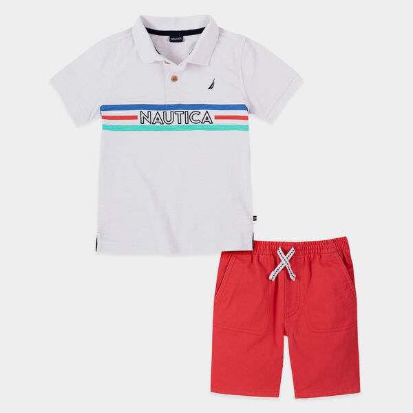TODDLER BOYS' STRIPE LOGO POLO 2PC SHORT SET (2T-4T) - Antique White Wash