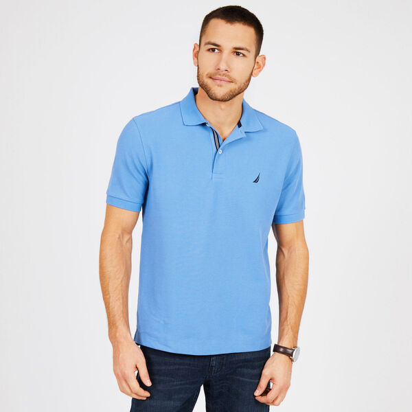 Classic Fit Performance Mesh Polo - Riviera Blue