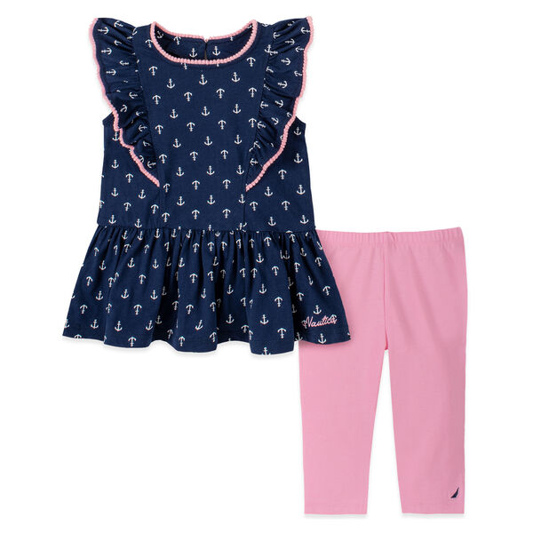 TODDLER GIRLS' RUFFLED ANCHOR PRINT CAPRI 2PC SET (2T-4T) - Aquadream