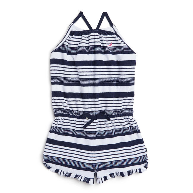 Girls' Striped Terry Romper,Navy,large