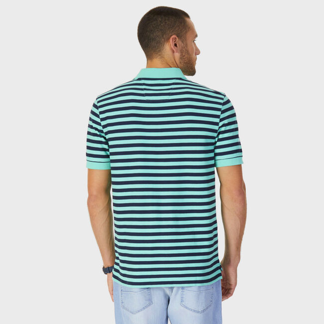 Classic Fit Performance Striped Polo,Mint Spring,large