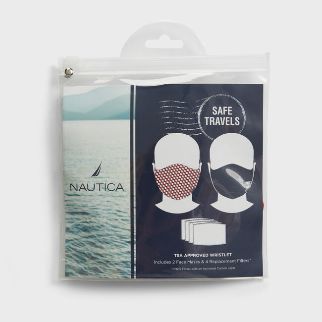 GEOMETRIC PRINT AND SOLID REUSABLE FACE MASK KIT WITH PM2.5 FILTERS, 2 PACK,Nautica Red,large