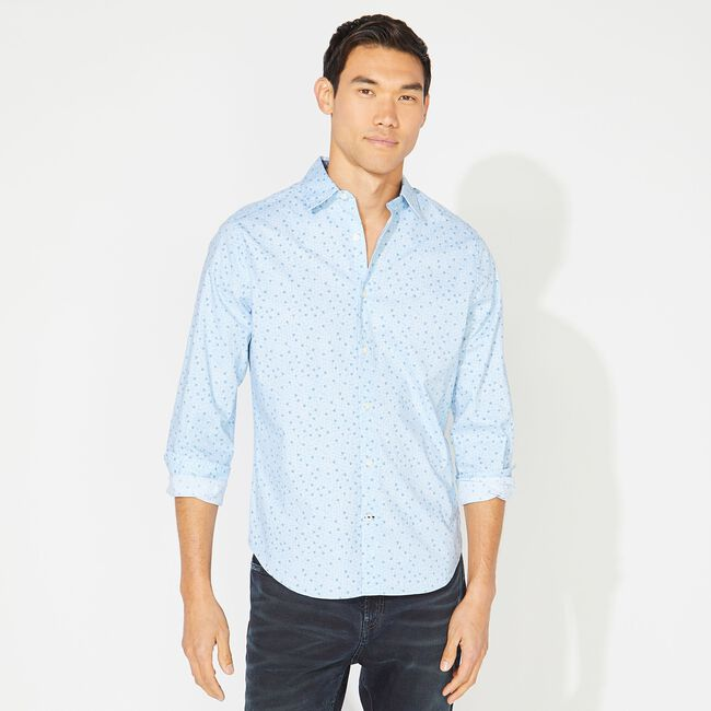 CLASSIC FIT PRINTED OXFORD SHIRT,Varsity Blue Wash,large