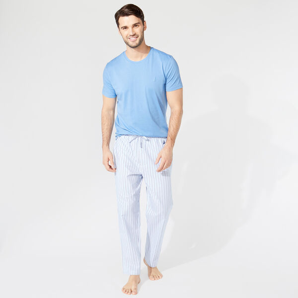 CLASSIC FIT SHORT SLEEVE STRIPED PANT PAJAMA SET - Riviera Blue