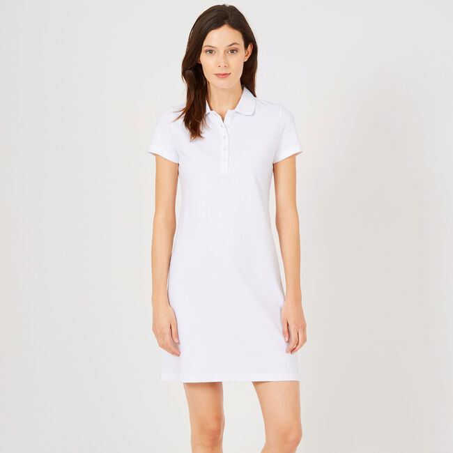 Short Sleeve Solid Polo Dress,Bright White,large