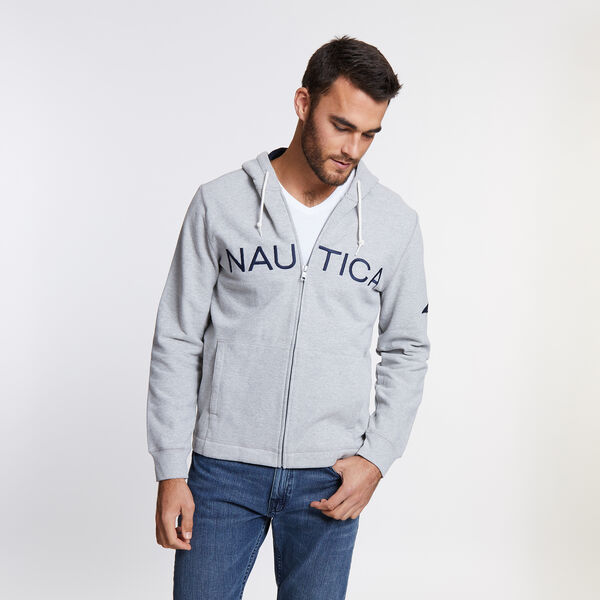 Full-Zip Nautica Hoodie - Grey Heather