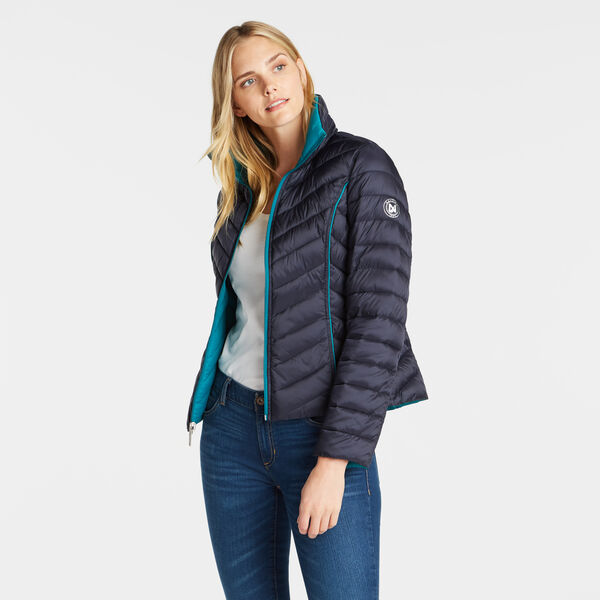 Reversible Packable Puffer Jacket - Stellar Blue Heather
