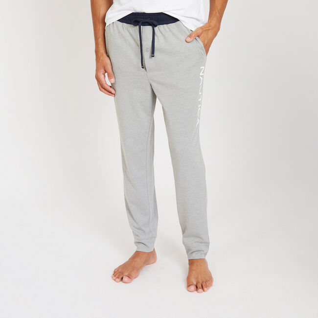 Graphic Logo Sueded Jersey Joggers,Grey Heather,large