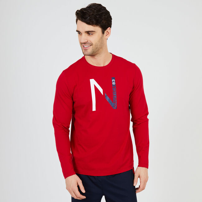N '83 Logo Long Sleeve Sleep T-Shirt,Nautica Red,large