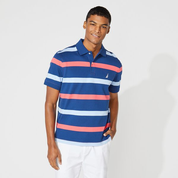 CLASSIC FIT PREMIUM COTTON STRIPE POLO - Persian Red