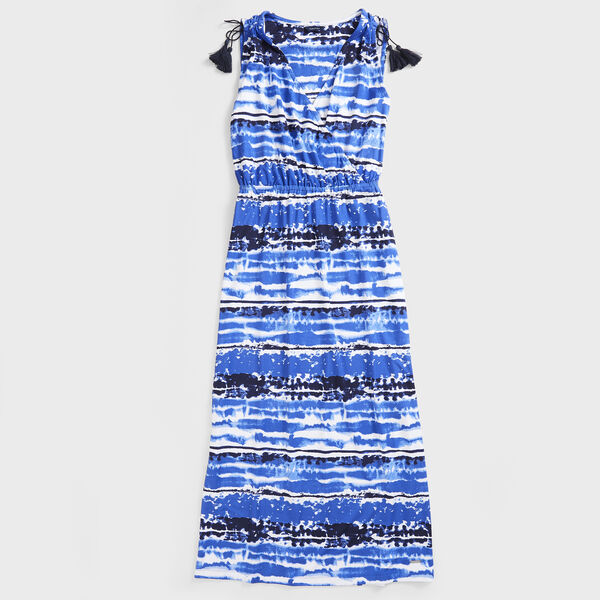 SLEEVELESS PRINT KNIT MIDI DRESS - Reef Blue