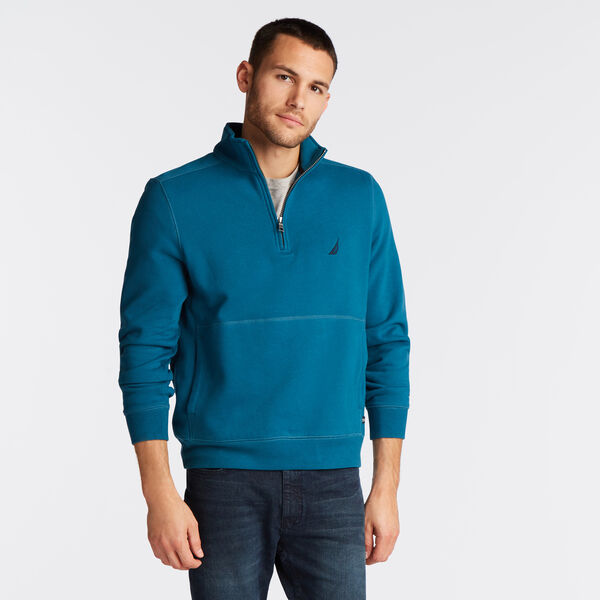 SUEDED FLEECE QUARTER ZIP PULLOVER - Capri Blue