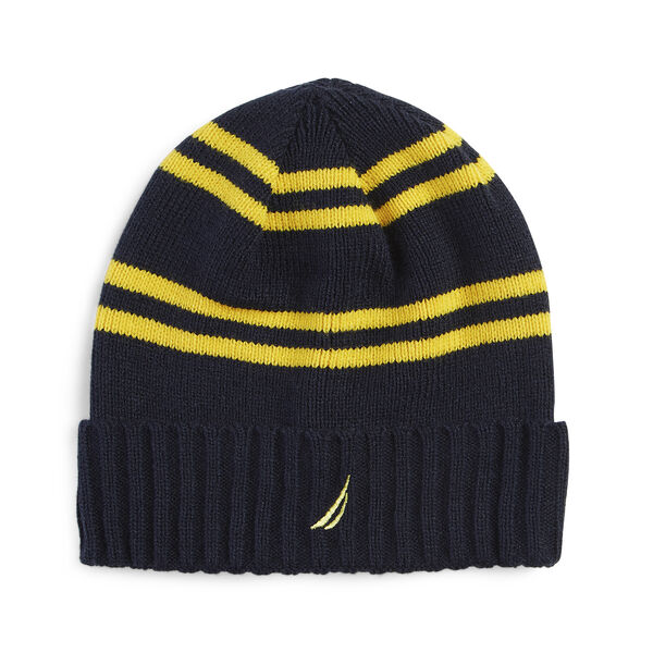 RIBBED KNIT STRIPED CUFF HAT - Navy