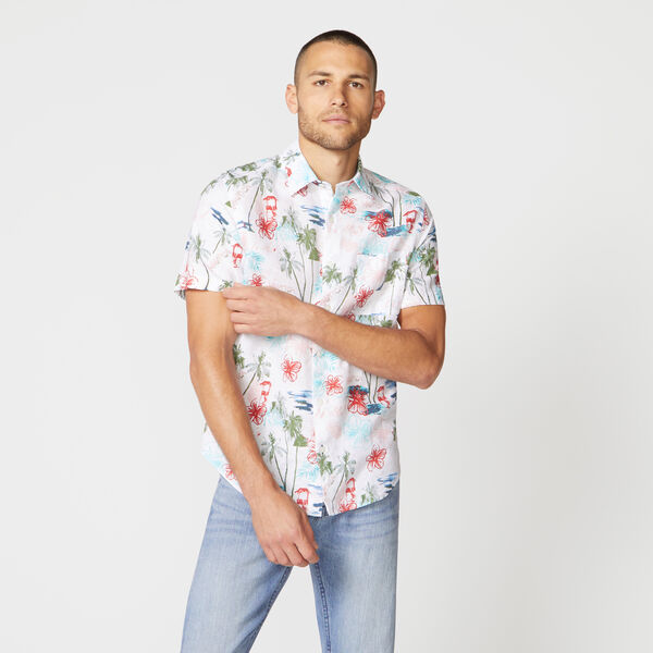 CLASSIC FIT PALM PRINT LINEN SHIRT - Bright White