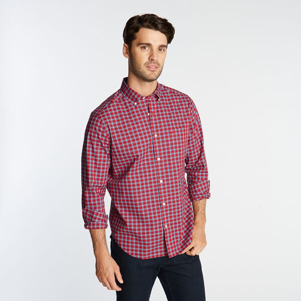 CLASSIC FIT WRINKLE RESISTANT SHIRT IN RED MINI PLAID - Nautica Red