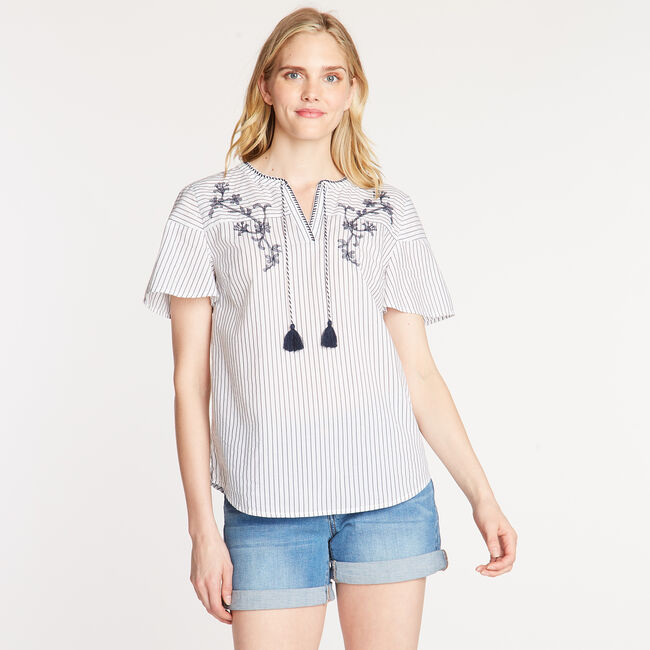 EMBROIDERED COTTON BLEND TOP,Bright White,large