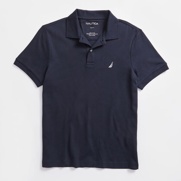 SLIM FIT INTERLOCK POLO - Navy
