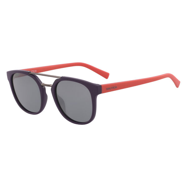 Round Sunglasses with Brow Bar - Navy