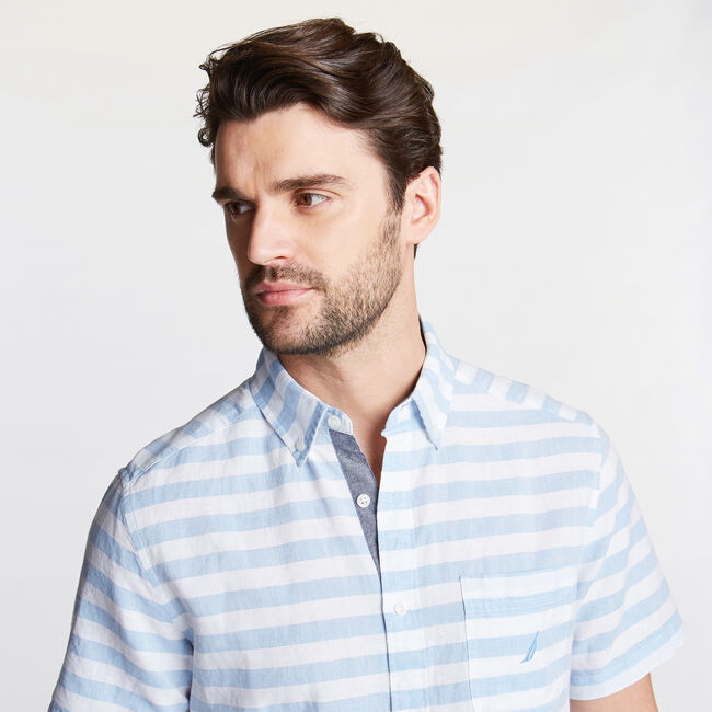 Classic Fit Short Sleeve Shirt in Stripe,Alaskan Blue,large