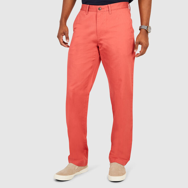 Flat Front Classic Fit Pants,Mineral Red,large