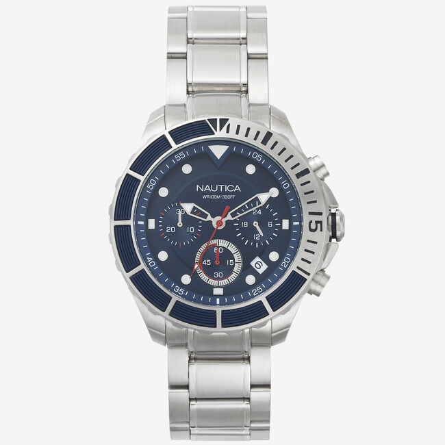 Puerto Rico Stainless Steel Chronograph Watch,Multi,large