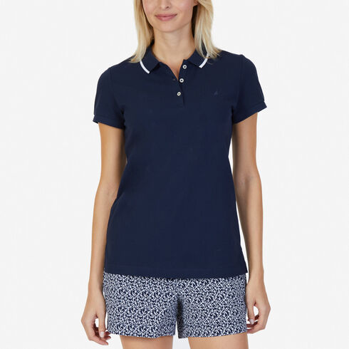 Classic Fit Polo with Tipped Collar - Navy