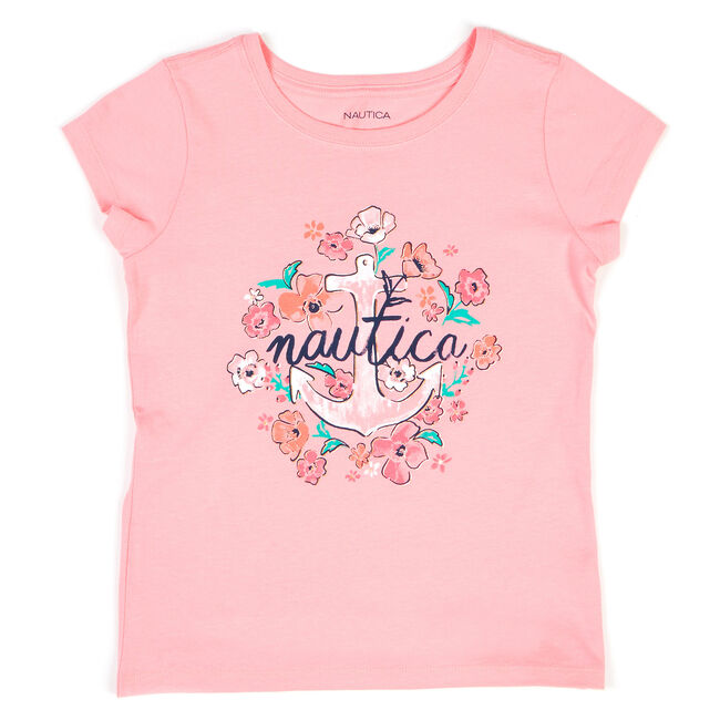 Little Girls' Floral Anchor Tee (4-6X),Reckoning Red,large