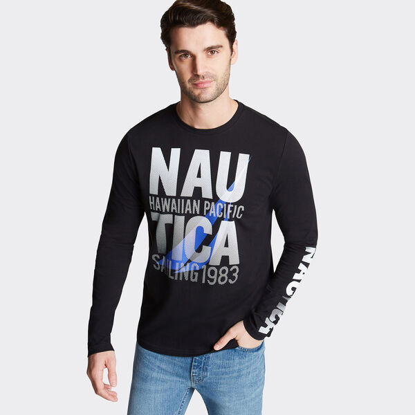 Long Sleeve Hawaiian Pacific Graphic T-Shirt - True Black