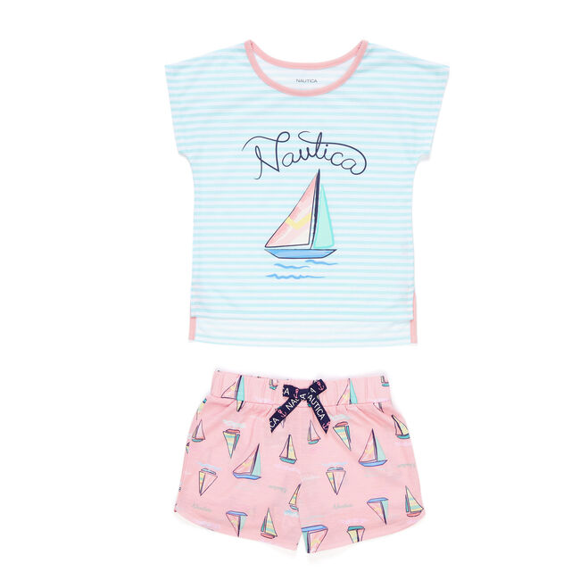 Girls' Sailboat + Striped PJ Shorts Set (XS-XL),Nautica Red/Orange,large