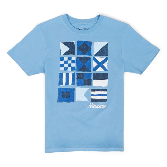 Little Boys' Grafton Signal Flag Graphic Tee (4-7),Ballard Blue,large