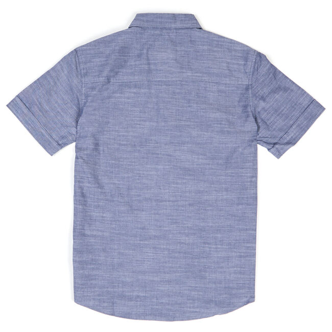 Boys' Striped Chambray Short Sleeve Button Down (8-20),Blue Mirage,large