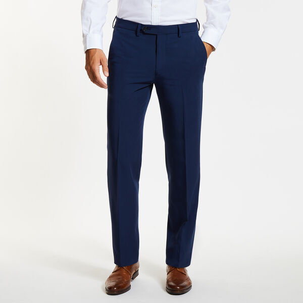 Flat Front Bi-Stretch Dress Pants - Navy