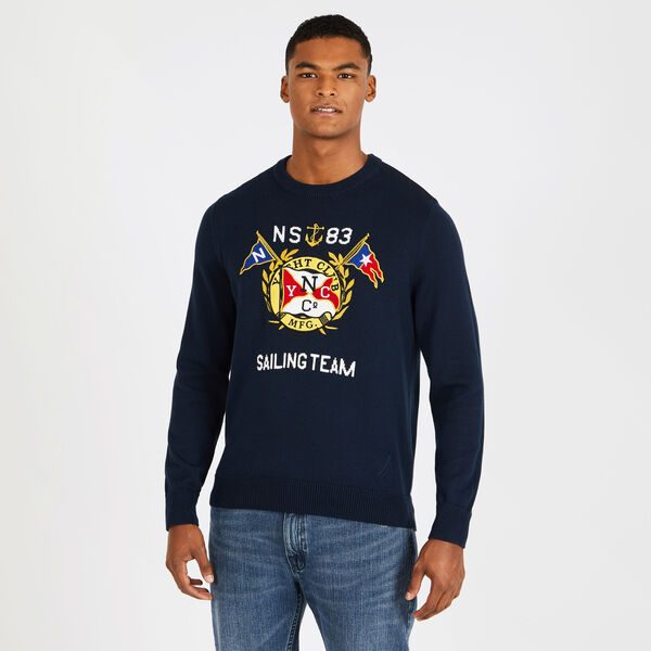 Big & Tall Graphic Crewneck Sweater - Navy