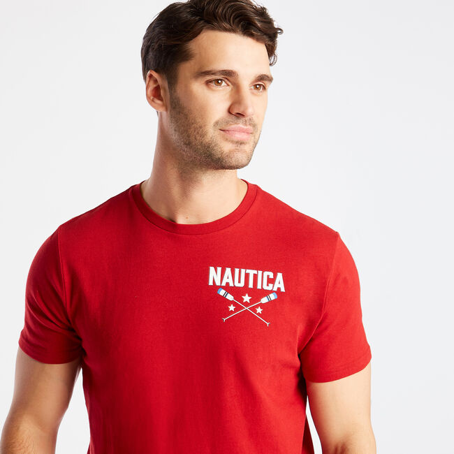 ALL AMERICAN SAILING GRAPHIC TEE,Nautica Red,large