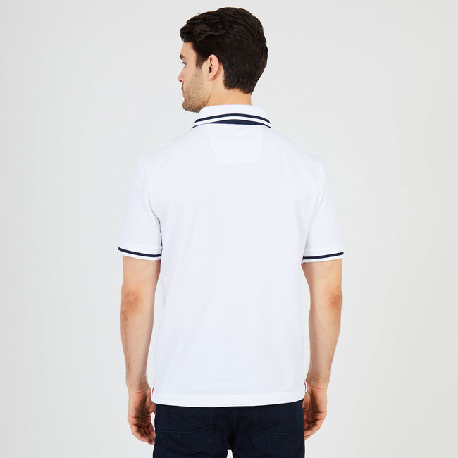 Solid Tipped Classic Fit Polo,Bright White,large