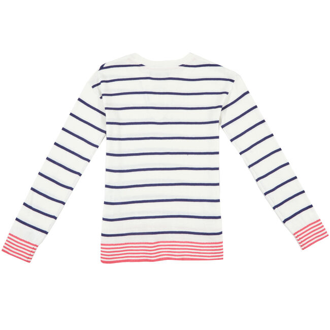 Little Girls' Lace Up Stripe Sweater (4-7),Bright White,large
