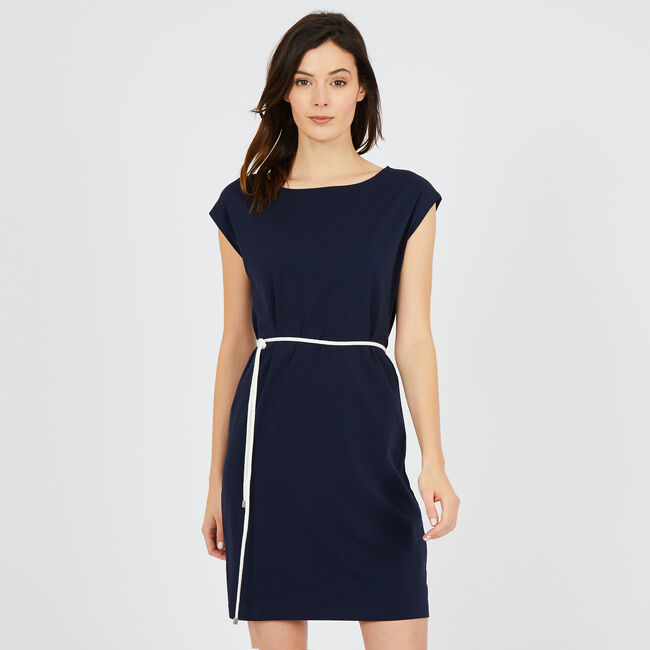 Solid Stretch Dress with Rope Belt,Deep Sea,large