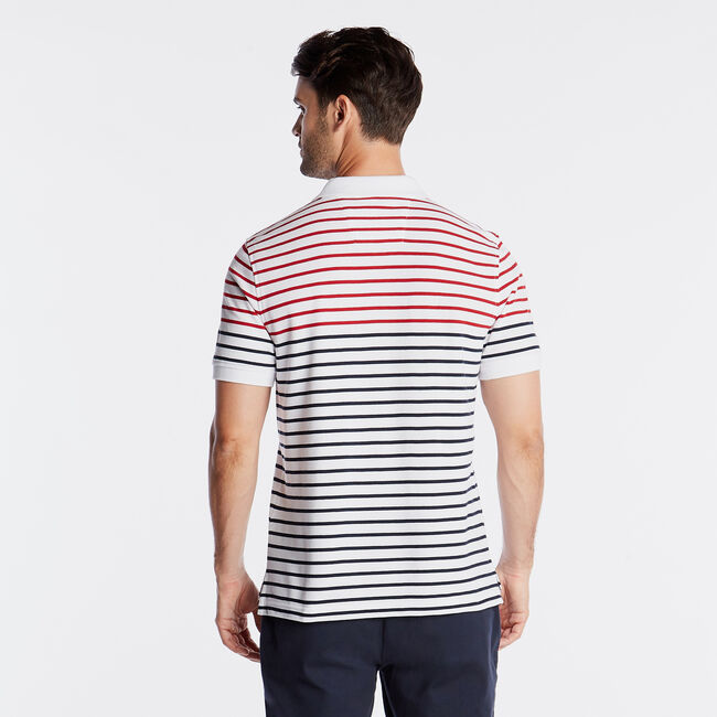 CLASSIC FIT PERFORMANCE POLO IN STRIPE,Bright White,large