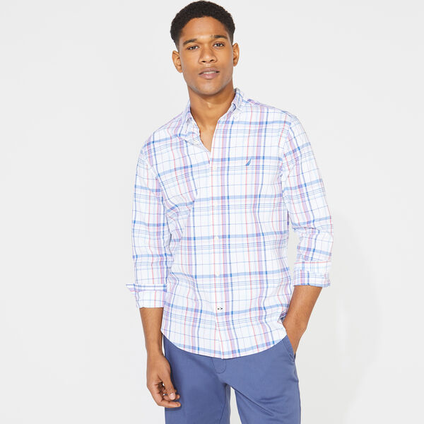 BIG & TALL NAVTECH PLAID SHIRT - Bright White