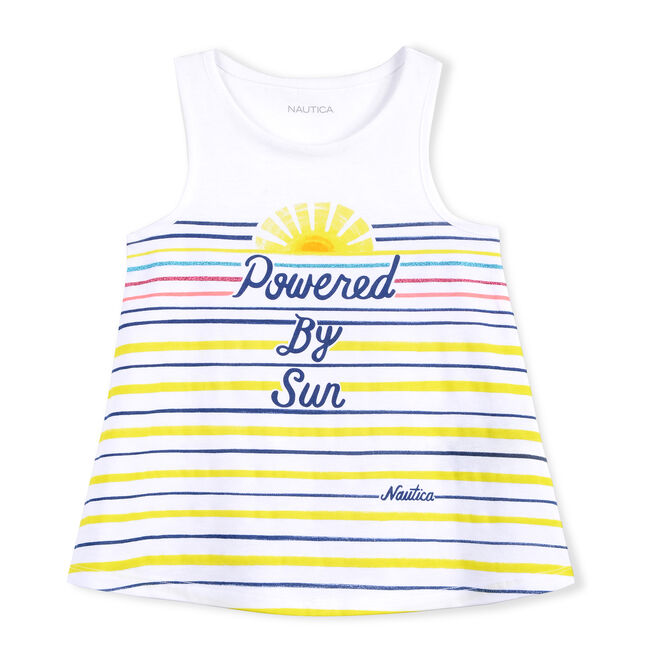 GIRLS' KNIT TANK IN POWERED BY THE SUN GRAPHIC,Antique White Wash,large