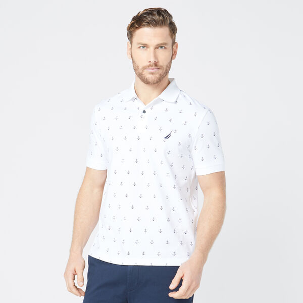 CLASSIC FIT ANCHOR PRINT POLO - Bright White